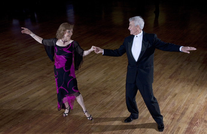 A photo of a couple ballroom dancing