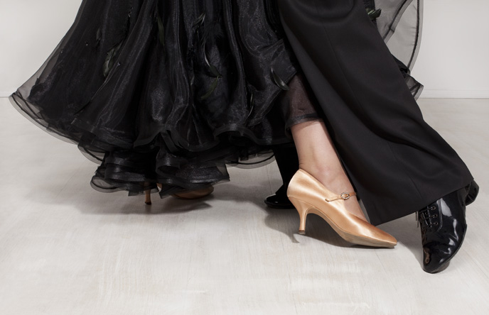A photo of a formal dancing feet